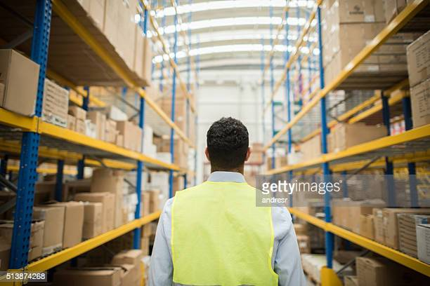 Man working at a distribution warehouse