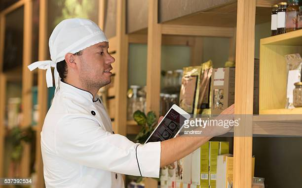Man working at a food store