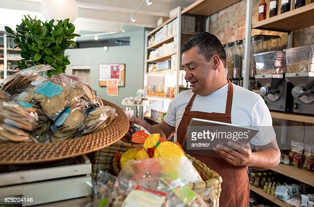 Man working at a supermarket