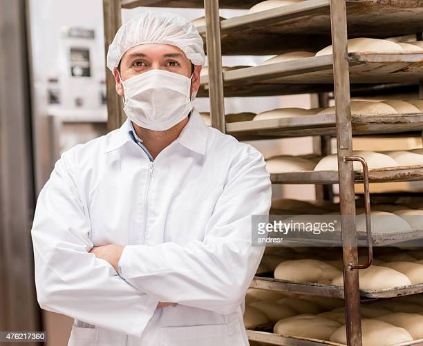Man working at an industrial bakery