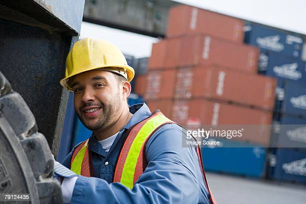 Man working at container terminal