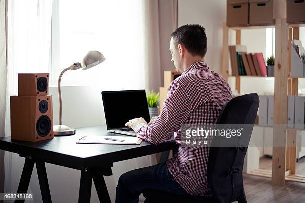Man working at home office.