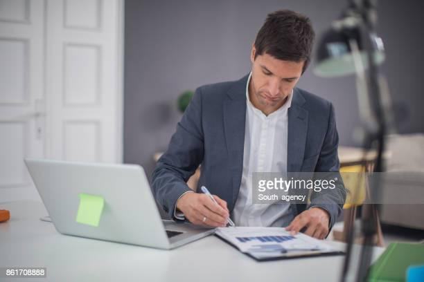 Man working hard in office