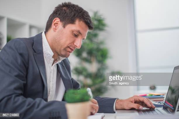 Man working hard in office