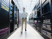 Man working in data center