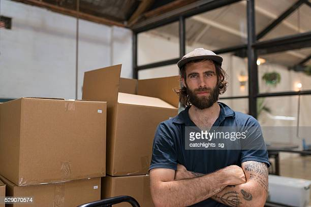 Man Working in Gourmet Coffee Roasting Factory