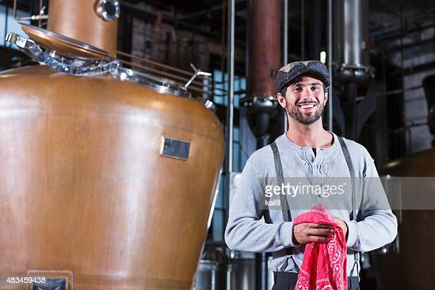 Man working in old distillery