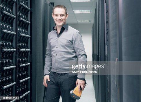 Man working in server room