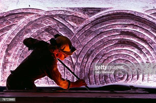 Man working in underground potash mine