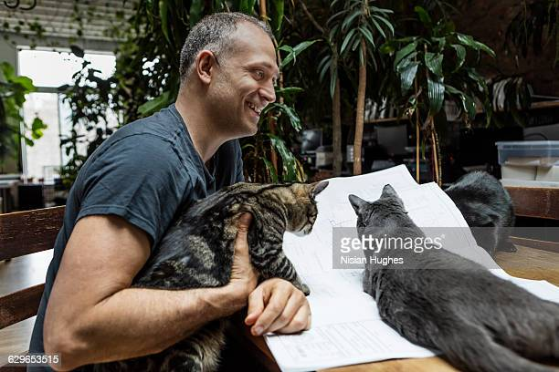 Man working on building plans surrounded by cats