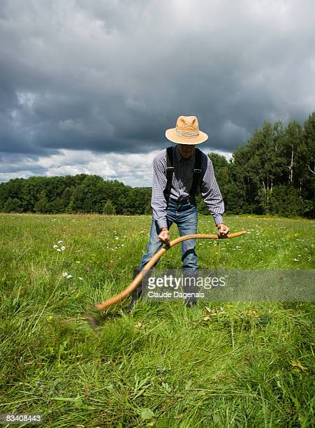 Man working with a scythe in a field.