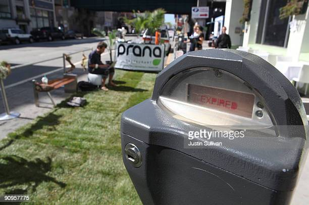A man works on his laptop as he sits on a temporary lawn that takes up a metered parking space while participating in ing day September 18 2009 in...