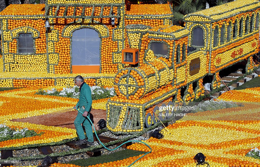 A man works on 'The rail road with Big Ben' a sculpture made from oranges and lemons, on February 15, 2013 in Menton on the French Riviera, ahead of the start of the 'Fete du Citron' (lemon carnival). The theme of this 80th edition, running from February 16 until March 6, 2013, is 'Le Tour du monde en 80 jours' ( Around the world in 80 days). AFP PHOTO / VALERY HACHE