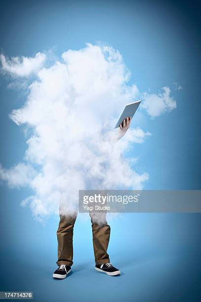 Man wrapped in clouds