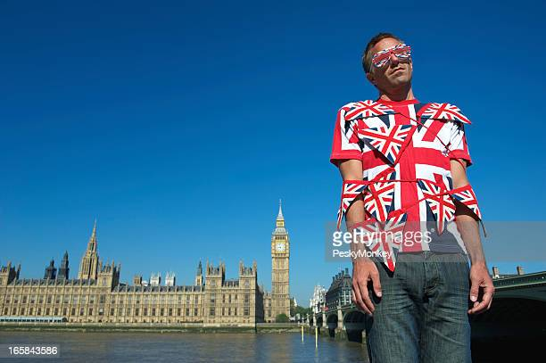 Man Wrapped in Union Jack Flag Bunting London Overwhelmed