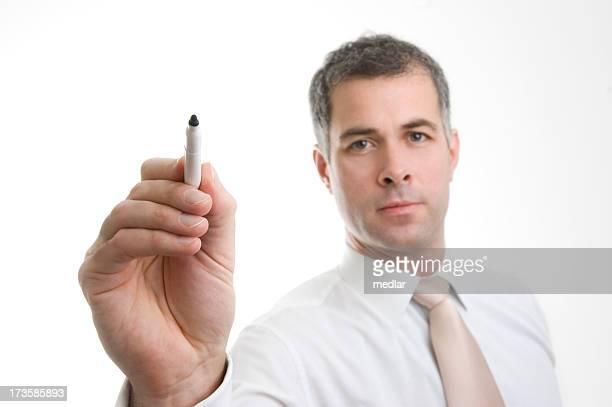 Mann schreiben, Stift in focus