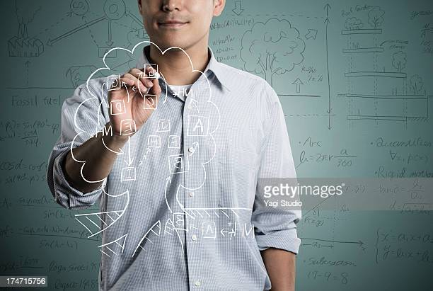 Man writting a formula and picture in chalk