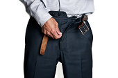Man zipping his pants