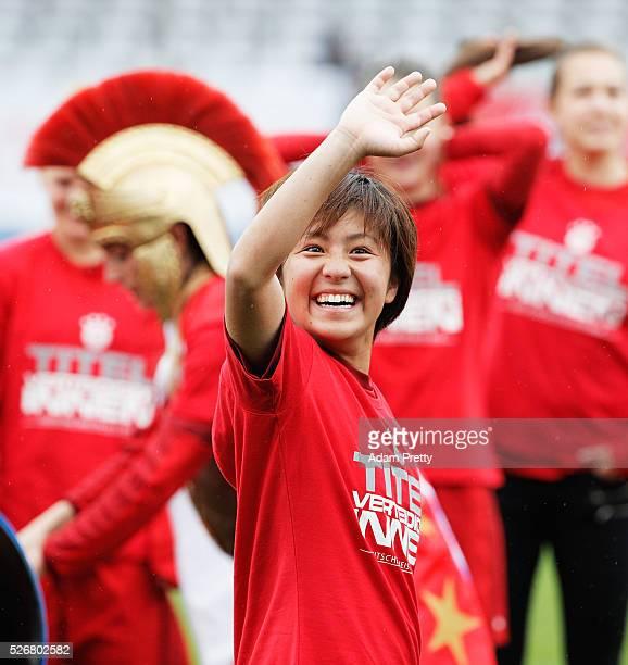 Mana Iwabuchi of Bayern Munich celebrates victory in the Women's Bundesliga match at Gruenwalder Street Stadium on May 01 2016 in Munich Bavaria