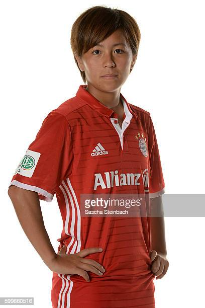 Mana Iwabuchi of FC Bayern Muenchen poses during the Allianz Women's Bundesliga Club Tour on September 4 2016 in Aschheim Germany