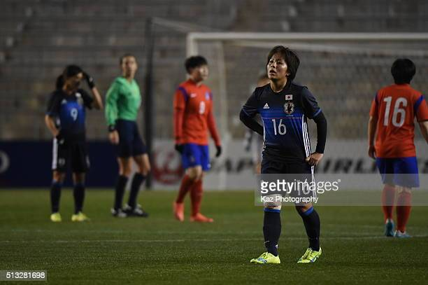 Mana Iwabuchi of Japan cannot believe the draw during the AFC Women's Olympic Final Qualification Round match between Japan and South Korea at Kincho...