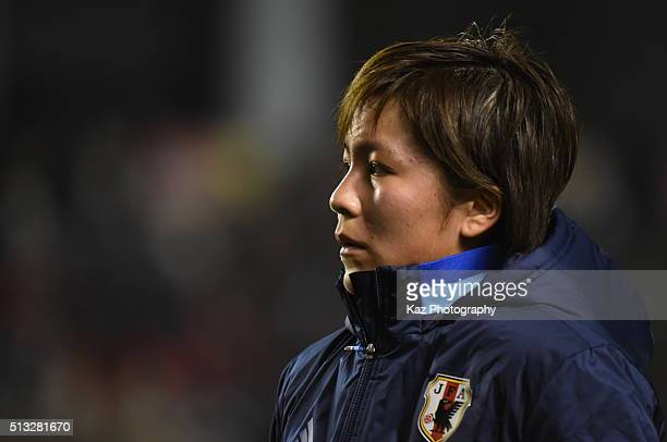 Mana Iwabuchi of Japan cannot believe their draw during the AFC Women's Olympic Final Qualification Round match between Japan and South Korea at...