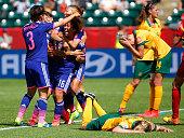 Mana Iwabuchi of Japan celebrates scoring a goal against Australia during the FIFA Women's World Cup Canada 2015 Quarter Final match between...