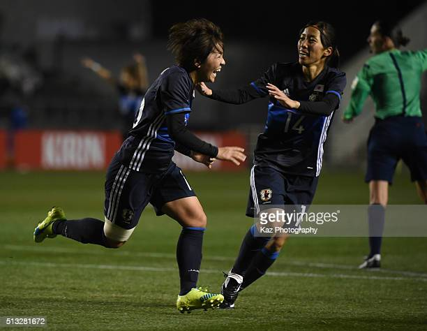 Mana Iwabuchi of Japan celebrates the opener during the AFC Women's Olympic Final Qualification Round match between Japan and South Korea at Kincho...