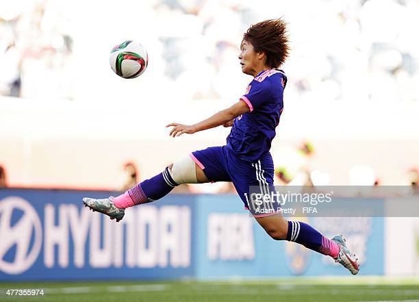 Mana Iwabuchi of Japan in action during the FIFA Women's World Cup 2015 Group C match between Ecuador and Japan at Winnipeg Stadium on June 16 2015...