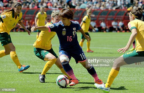 Mana Iwabuchi of Japan in action during the FIFA Women's World Cup Canada 2015 Quarter Final match between Australia and Japan at Commonwealth...