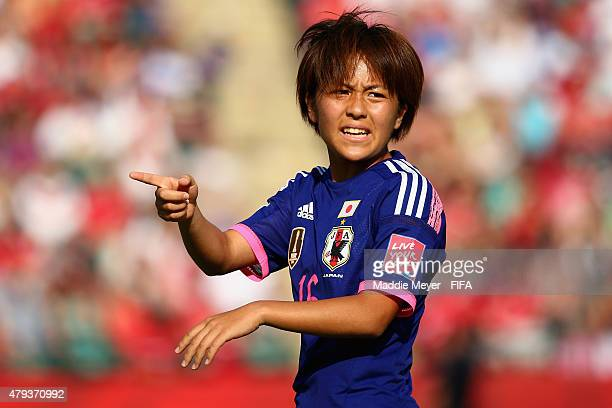 Mana Iwabuchi of Japan in action during the FIFA Women's World Cup Canada 2015 semi final match between England and Japan at Commonwealth Stadium on...