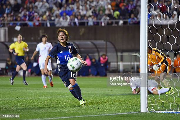 Mana Iwabuchi of Japan reacts after missing a chance during the AFC Women's Olympic Final Qualification Round match between Japan and North Korea at...