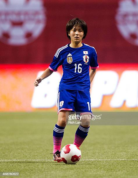 Mana Iwabuchi of Japan runs with the ball during Women's International Soccer Friendly Series action against Canada on October 28 2014 at BC Place...
