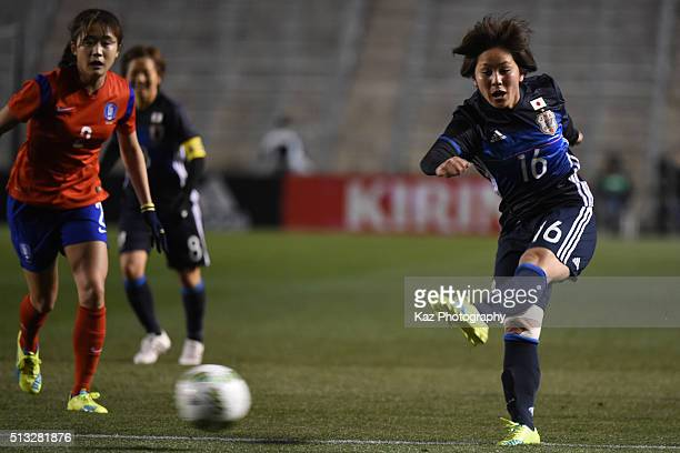Mana Iwabuchi of Japan shoots the ball during the AFC Women's Olympic Final Qualification Round match between Japan and South Korea at Kincho Stadium...