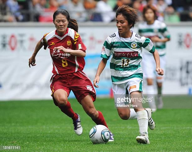 Mana Iwabuchi of NTV Beleza runs with the ball during the Nadeshiko League match between INAC Kobe Leonessa and NTV Beleza at Home's Stadium on...