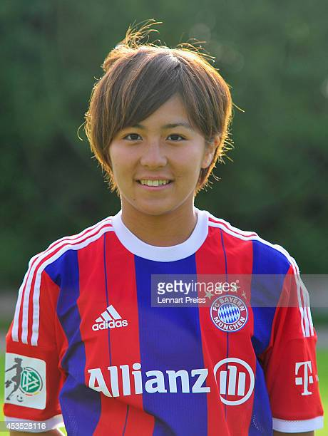 Mana Iwabuchi poses during the team presentation of the FC Bayern Muenchen Women's team at Sportpark Aschheim on August 12 2014 in Aschheim Germany