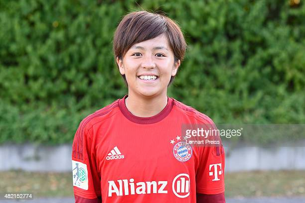 Mana Iwabuchi poses during the team presentation of the FC Bayern Muenchen women's team on July 27 2015 in Munich Germany
