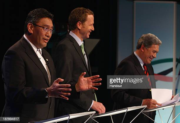 Mana Party Leader Hone Harawira Green Party Coleader Russel Norman and NZ First Leader Winston Peters during the TVNZ MultiParty Debate in this...