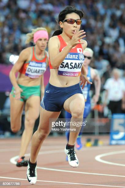 Mana Sasaki of Japan competes in the Women's 400m T13 round 1 during day six of the IPC World ParaAthletics Championships 2017 at London Stadium on...