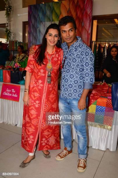 Mana Shetty along with fashion designer Vikram Phadnis during a Charity exhibition Araaish organised by Mana Shetty wife of actor Suniel Shetty at...