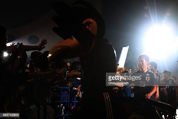 Manabu Saito of Japan meets with fans during the World Cup sendoff press conference for Japanese team on May 25 2014 in Tokyo Japan