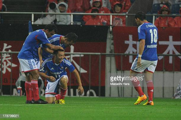 Manabu Saito of Yokohama FMarinos celebrates the second goal during the JLeague match between Urawa Red Diamonds and Yokohama FMarinos at Saitama...
