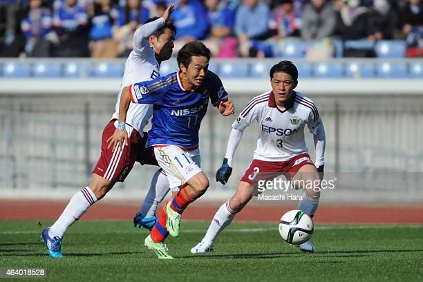 Manabu Saito of Yokohama FMarinos in action during the JLeague 2015 preseason match between Yokohama F Marinos and Matsumoto Yamaga at Nissan Stadium...