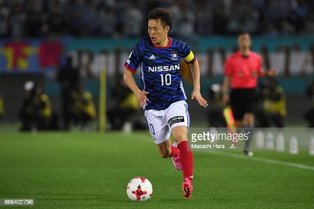Manabu Saito of Yokohama FMarinos in action during the JLeague J1 match between Yokohama FMarinos and Jubilo Iwata at Nissan Stadium on April 8 2017...