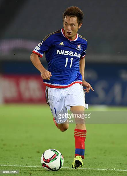 Manabu Saito of Yokohama FMarinos in action during the JLeague match between Yokohama FMarinos and Montedio Yamagata at Nissan Stadium on July 11...