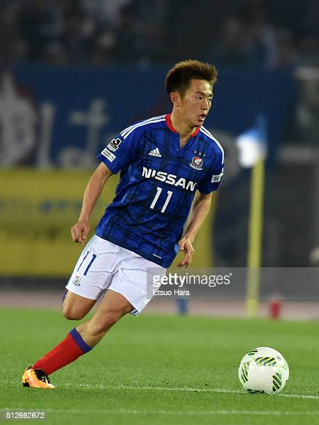 Manabu Saito of Yokohama FMarinos in action during the JLeague match between Yokohama FMarinos and Vegalta Sendai at the Nissan Stadium on February...