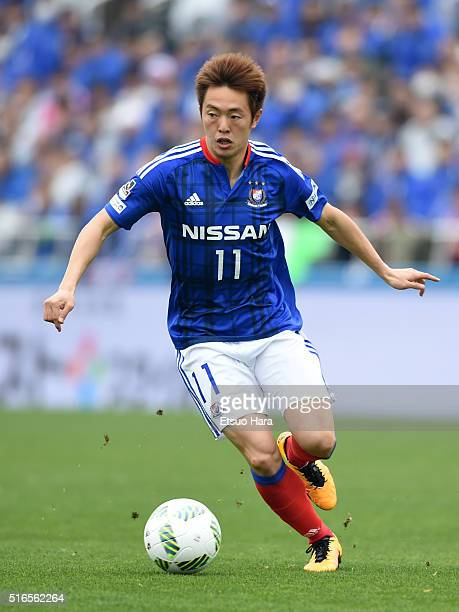 Manabu Saito of Yokohama FMarinos in action during the JLeague match between Yokohama FMarinos and Sagan Tosu at the Nippatsu Mitsuzawa Stadium on...