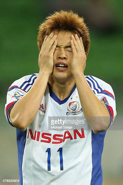 Manabu Saito of Yokohama reacts after missing a kick fo goal during the AFC Asian Champions League match between the Melbourne Victory and Yokohama F...