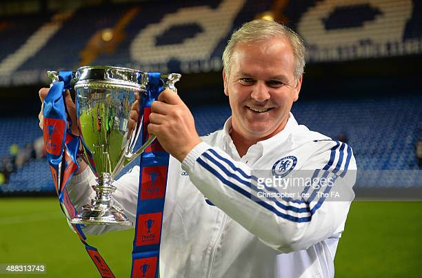 Manager Adi Viveash of Chelsea celebrates with the cup during the FA Youth Cup Final Second Leg match between Chelsea U18 and Fulham U18 at Stamford...