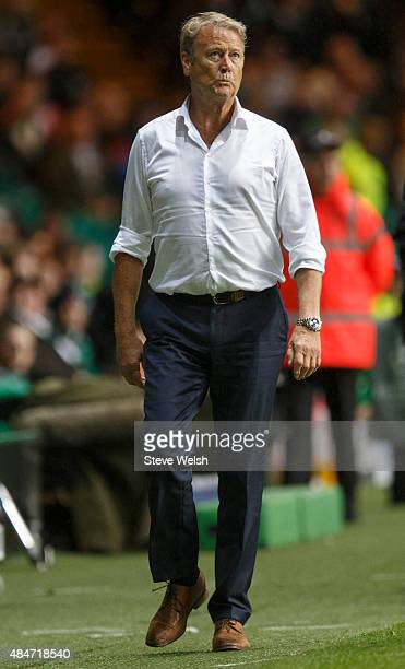 Manager Age Hareide of Malmo FF during the UEFA Champions League Qualifying play off first leg match between Celtic FC and Malmo FF at Celtic Park on...